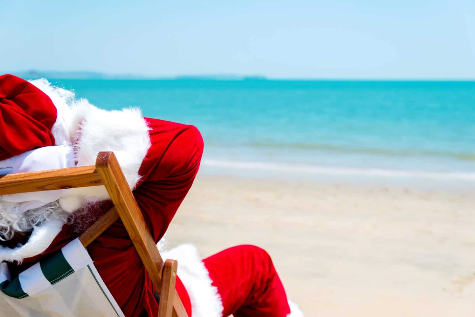 Santa Claus Relaxing On Beach